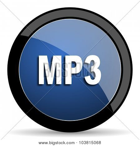 mp3 blue circle glossy web icon on white background, round button for internet and mobile app