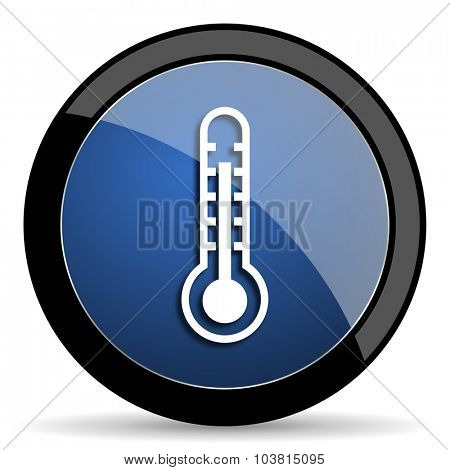 thermometer blue circle glossy web icon on white background, round button for internet and mobile app