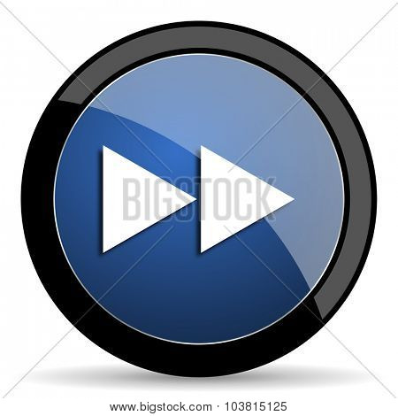 rewind blue circle glossy web icon on white background, round button for internet and mobile app