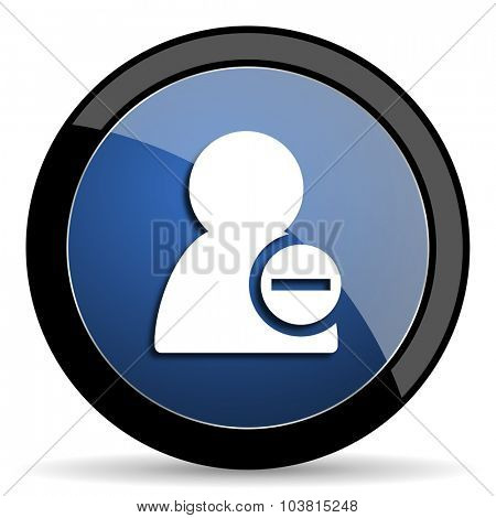 remove contact blue circle glossy web icon on white background, round button for internet and mobile app