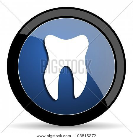 tooth blue circle glossy web icon on white background, round button for internet and mobile app