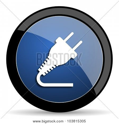 plug blue circle glossy web icon on white background, round button for internet and mobile app