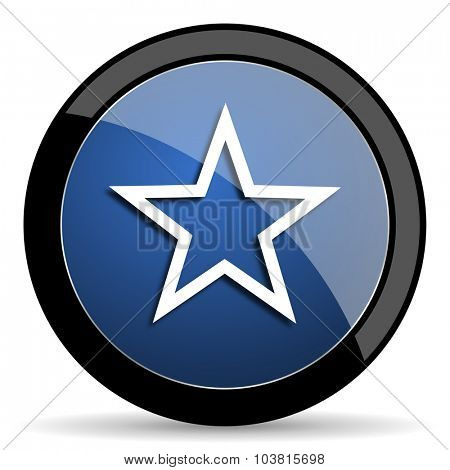 star blue circle glossy web icon on white background, round button for internet and mobile app