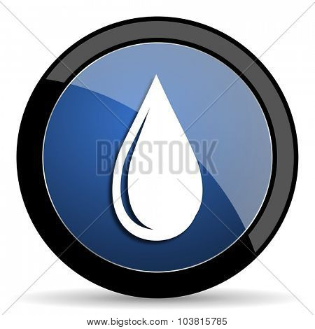 water drop blue circle glossy web icon on white background, round button for internet and mobile app