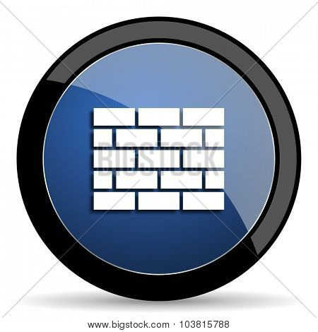 firewall blue circle glossy web icon on white background, round button for internet and mobile app