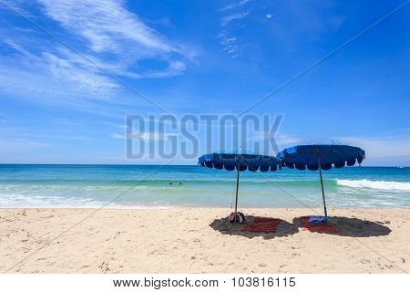 Tourists At Karon Beach In Phuket Island, Thailand