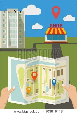 hands holding a city map with pins. Vector illustration