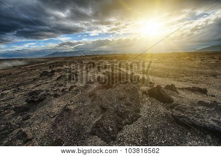Sunset over the vast volcanic