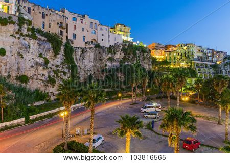 Famous historical sea resort town of Tropea in Calabria region, Southern Italy. Evening photo
