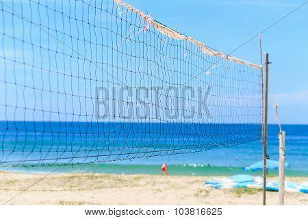 Volleyball Net On The Beach, Karon Beach, Thailand