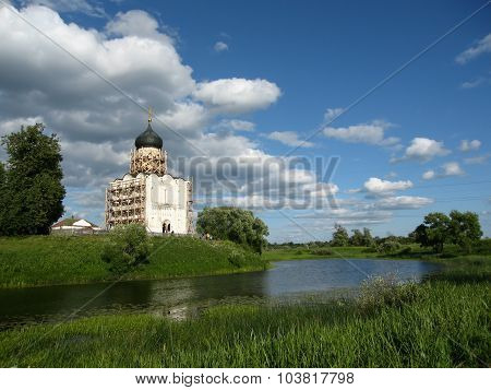 Church Of The Intercession On The River Nerl. Inscribed In The Wold Heritage List Of Unesco