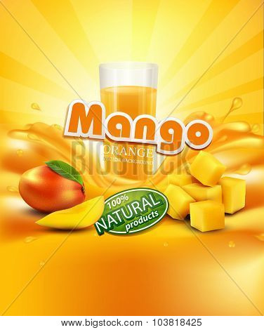 vector background with mango, a glass of juice, slices of mango