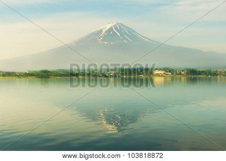 Mt. Fuji In Morning At Kawaguchi, Japan
