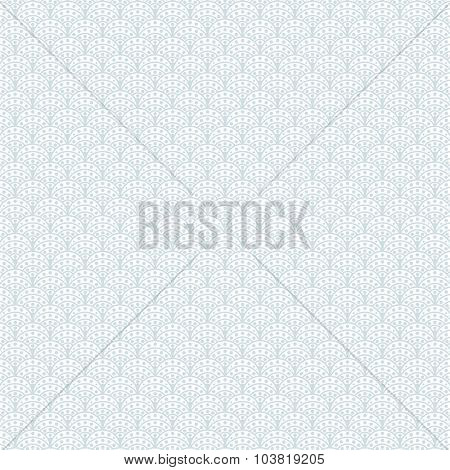Fish scales light blue vector seamless pattern.