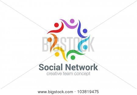 Social Logo design vector template. Seven point star icon.