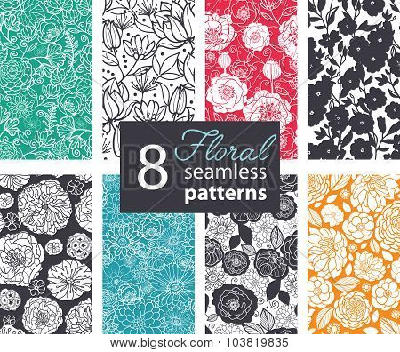 Vector Black White Color Flowers 8 Set Seamless Pattern. Poppy, peony