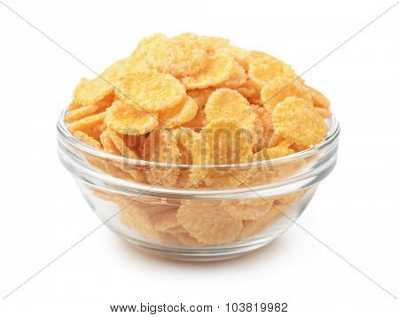 Glass bowl of cornflakes isolated on white