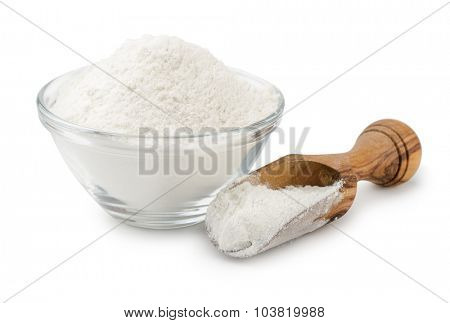 Wheat flour in bowl and scoop isolated on white