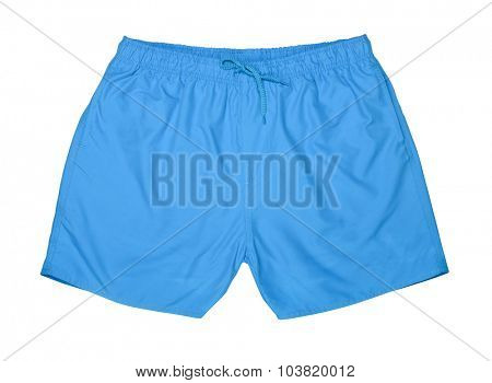 Blue swim trunks isolated on white