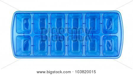 Top view of blue plastic ice cube tray isolated on white
