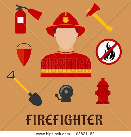 Fireman with fire fighting tools, flat icons
