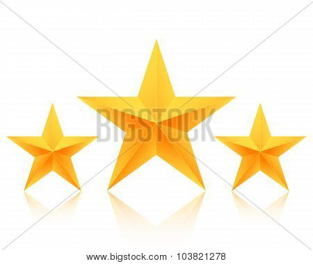 Set of Vector Gold Stars Icon. Best Rating Gold Star Template
