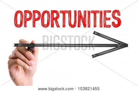 Hand with marker writing: Opportunities