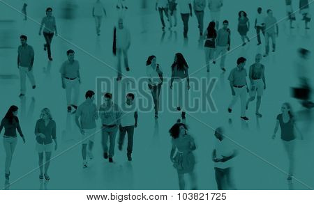 Multiethnic Walking Talking Commuter Diverse Concept