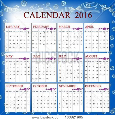 Calendar Of The  Year 2016