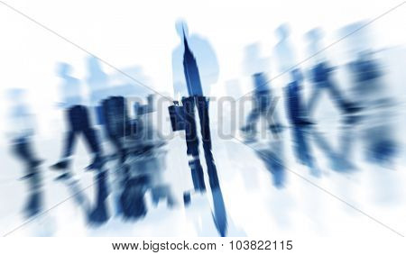 Silhouettes of Business People Walking and City Background