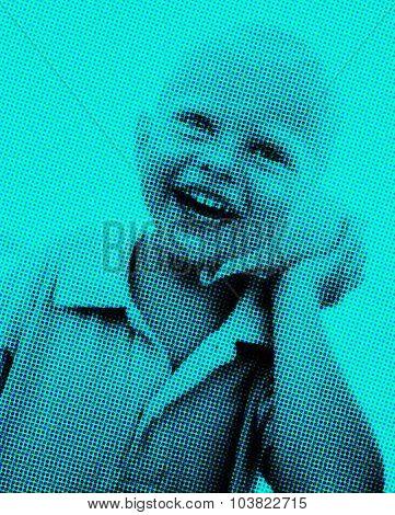 Little boy having fun on a beach Laughing Concept