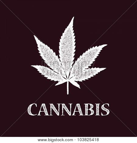 cannabis leaf . vector illustration. (one compound path)
