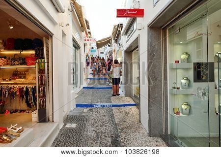 SANTORINI, GREECE - AUGUST 07, 2015: streets of Santorini. Santorini, classically Thera, and officially Thira, is an island in the southern Aegean Sea, about 200 km southeast of Greece's mainland.