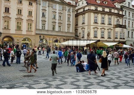 PRAGUE, CZECH REPUBLIC - AUGUST 18, 2015: streets of Prague. Prague is the capital and largest city of the Czech Republic. It is the 15th largest city in the European Union.