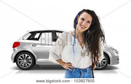 Car Vehicle Hatchback Transportation 3D Illustration Concept
