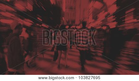 Japanese People Crowd Walking Cross Street Concept