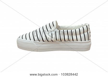 Sneaker Vintage Strip Black And White Color  Isolated Background