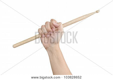 Male Hand Raising Or Holding Drum Sticks Isolated On White Background As Musical Theme