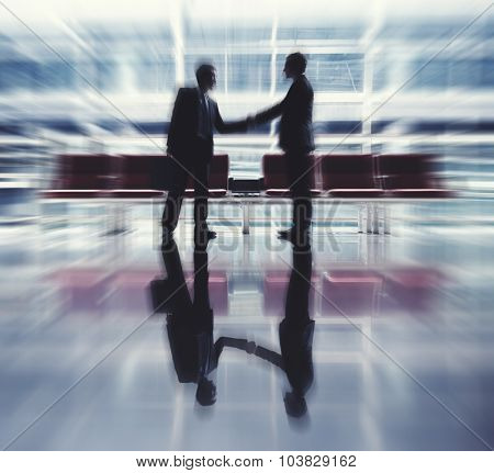 Businessmen Talking Business Airport Deal Concept