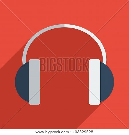 Flat icons modern design with shadow of headphones