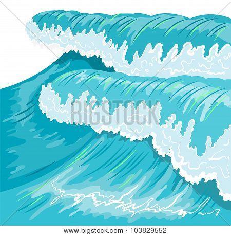 Blue high ocean wave. Surge wave