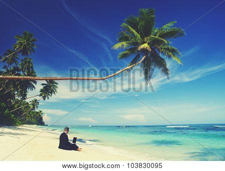Businessman Working Laptop Summer Beach Concept