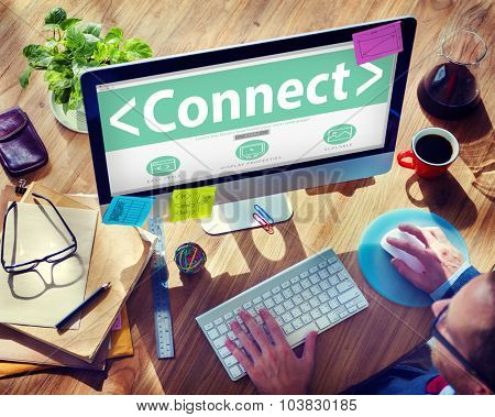 Digital Online Social Media Networking Connect Office Concept