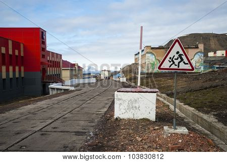 Main Street In Barentsburg, Russian Settlement In Svalbard