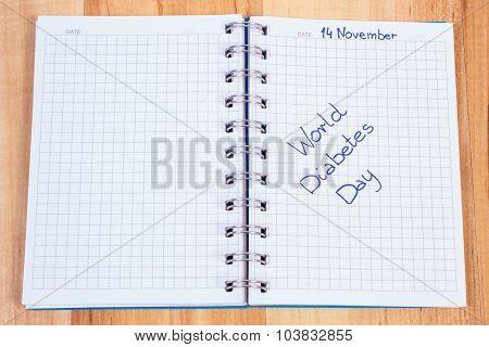 World Diabetes Day Written In Notebook