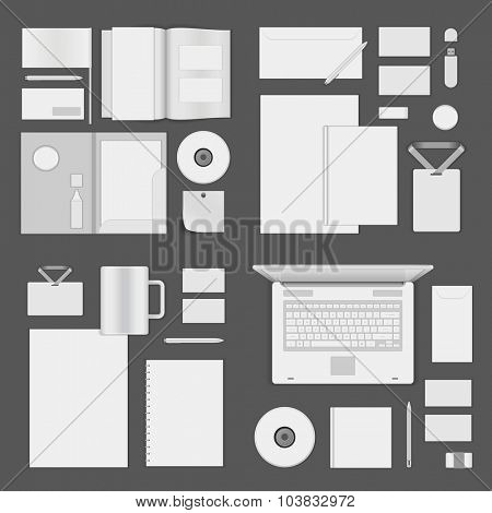 Mock up for Logo presentation corporate identity template design elements set. Vector Stationery objects business card, blank paper, envelope and other.