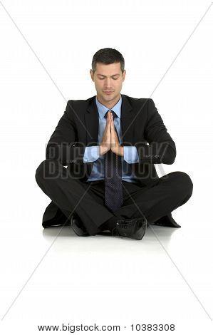 businessman practice yoga isolated on white background