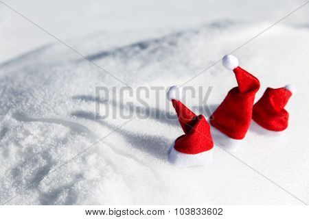 Three Christmas Caps In The Snow