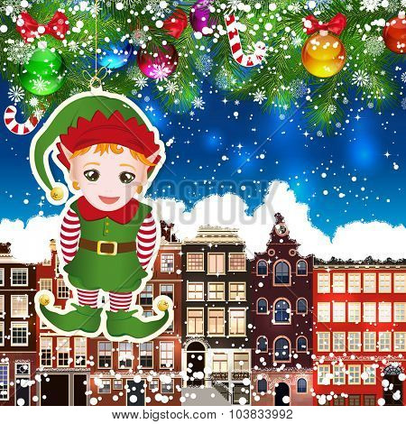 Christmas elf on the background of snow-covered streets. Green branches of Christmas trees decorated with Christmas balls and sweets. Christmas background.