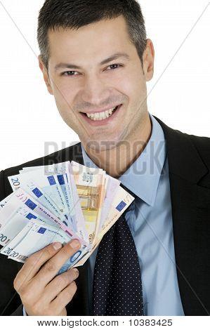 empresario con dinero aislado sobre fondo blanco